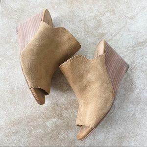 Lucky Brand Reygan Suede Peep Toe Wedges Size 8.5